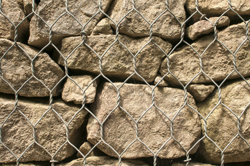 Gabion plastic covered wire mesh baskets filled with stone