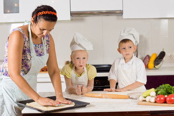 Mother Helping Chef Kids Making Food