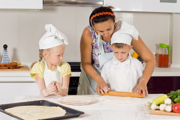 Mother Teaches How to Bake to Kids