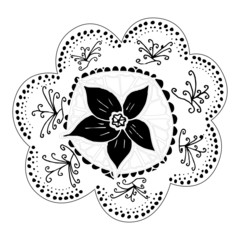 Hand-drawn flower motif for design
