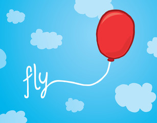 Balloon with fly word over the sky