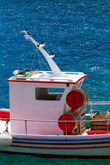 Fishing boat close up in the Harbor of Meganisi island