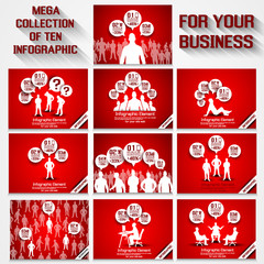 MEGA COLLECTION BUSINESSMAN  INFOGRAPHIC RED