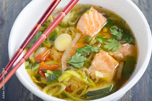 canvas print picture Miso soup with salmon and leek.