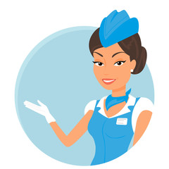 Female stewardess wearing blue suit. Round icon