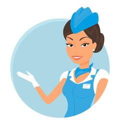 Female stewardess wearing blue suit. Round icon