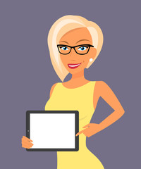 Blonde woman showing something displayed on tablet pc