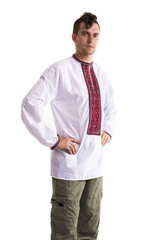 The man in the Ukrainian national clothes isolated on white