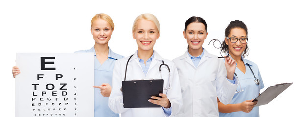 smiling female eye doctors and nurses
