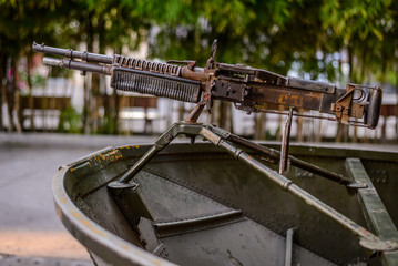 Military boat with gun, Saigon, Vietnam