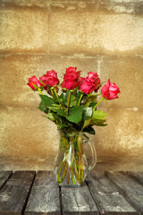 Background with beautiful roses bouquet.