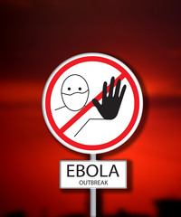 Ebola outbreak sign on crimson red background