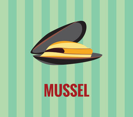 Mussel - drawing on green background.