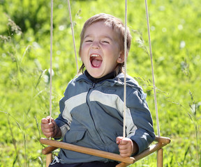 cheerful boy swinging on a swing on a background of green grass
