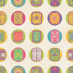 Seamless pattern with  ethnic ornament. Polka dot.