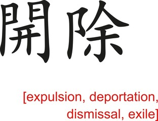 Chinese Sign for expulsion, deportation, dismissal, exile