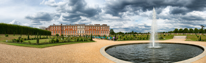 Hampton Court Palace and pond at Privy Gardens