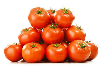 Composition with organic tomatoes on isolated on white