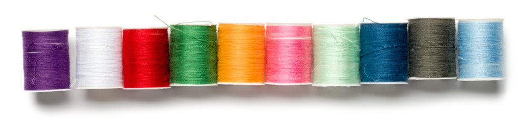 Spools of Thread on White