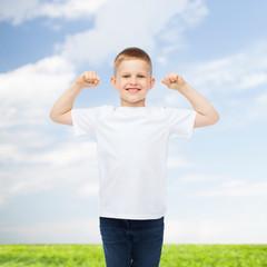 smiling little boy in white blank t-shirt