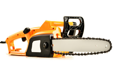 Electric chainsaw isolated on white
