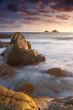 Vibrant beach sunset Cornwall England