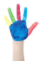 Colorfully painted hand
