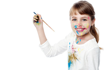Little girl with painting