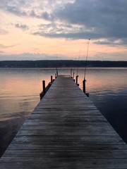 leading lines dock at sunset