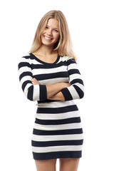 girl in a striped sweater