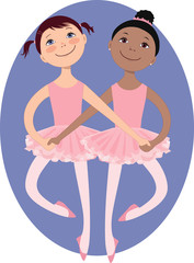 Little girls ballet dancers