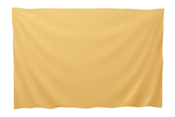Golden banner, vector illustration. Isolated on white