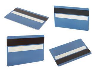 Set of Blue creadit card. Isolated on white