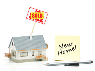 House model with sold sign - New Home
