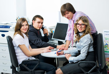 Team of young business people