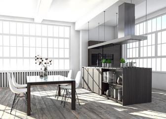 Loft mit Küche und Essbereich
