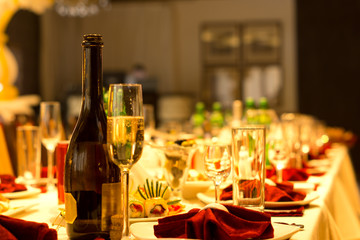 Champagne on a formal dinner table