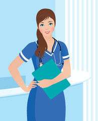 Smiling nurse or doctor at the clinic interior background