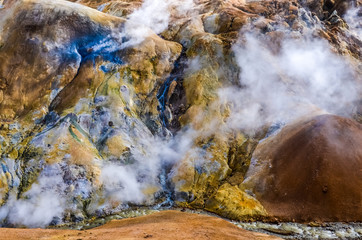 Colorful geothermal hot spring field Kerlingafjoll, Iceland