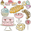 set of different sweetmeats, vector