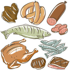 set of different meats , vector