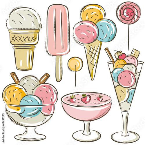 set of different  ice cream, vector
