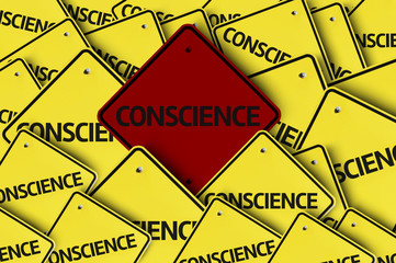 Conscience written on multiple road sign