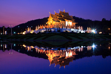 Ho Kham Luang in the twilight, Chiangmai province of Thailand