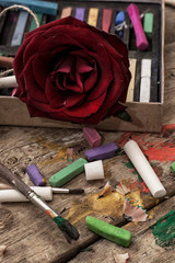 color paints,crayons and pencils for drawing in old style