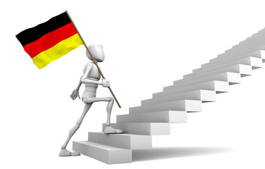 Guy freely walking to the top and carries the Germany flag
