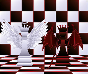 Chess Queen angel and devil. vector illustration