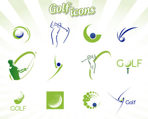 Collection of golf icons isolated on white, vector illustration