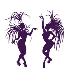 silhouettes of attractive samba queen