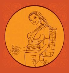 tea picker with regional background. Sry Lanka